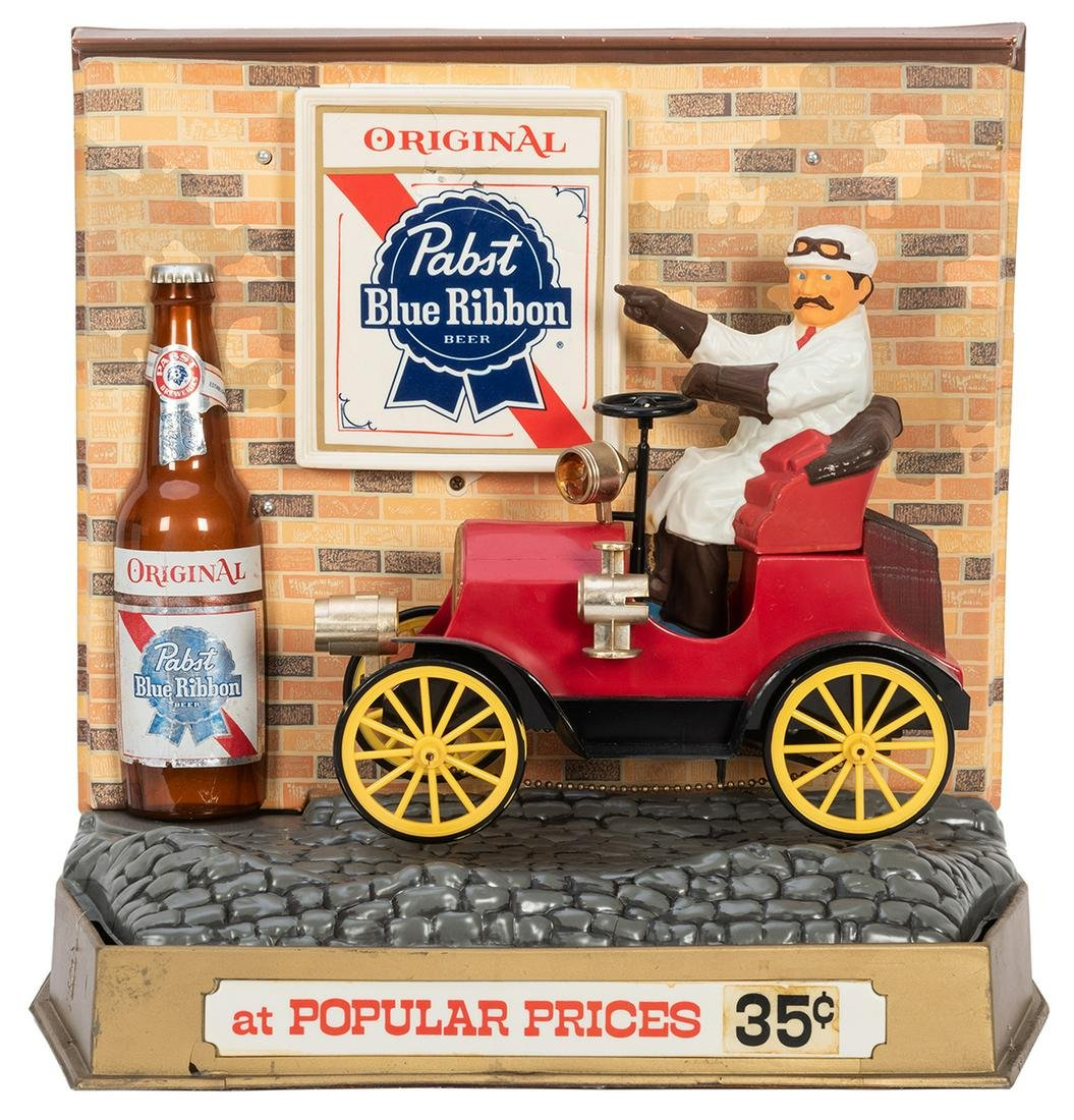 Pabst Blue Ribbon Vintage Motion Display. A colorful