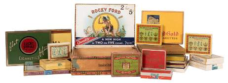 Group of 19 Vintage Cigarette Boxes and Tins Brands