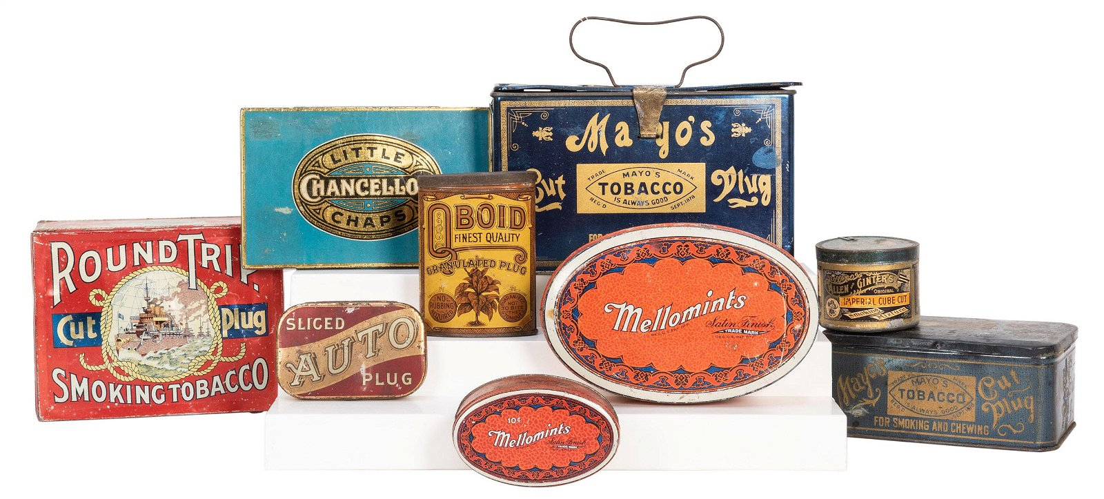 Group of Nine Early Tobacco Tins. Includes Mayo'