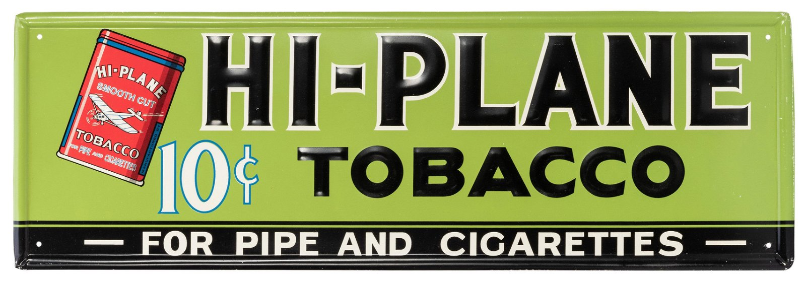 Hi-Plane Tobacco Tin Sign. Brightly colored sign with