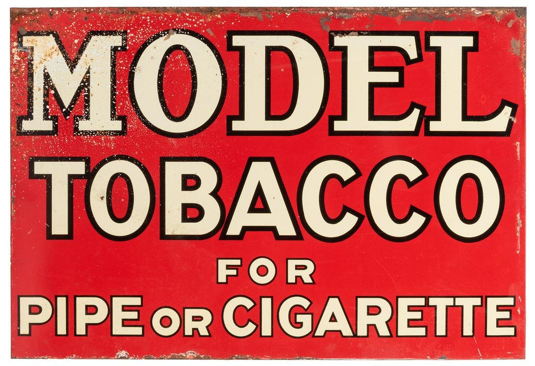 """Model Tobacco Tin Sign. 13 x 19"""". Paint chipped"""