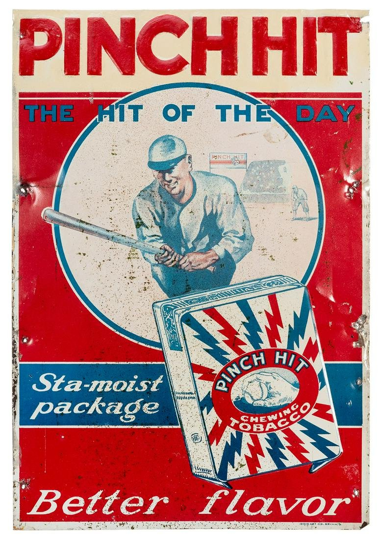 Pinch Hit Chewing Tobacco Tin Sign. Ohio Art Co., ca.