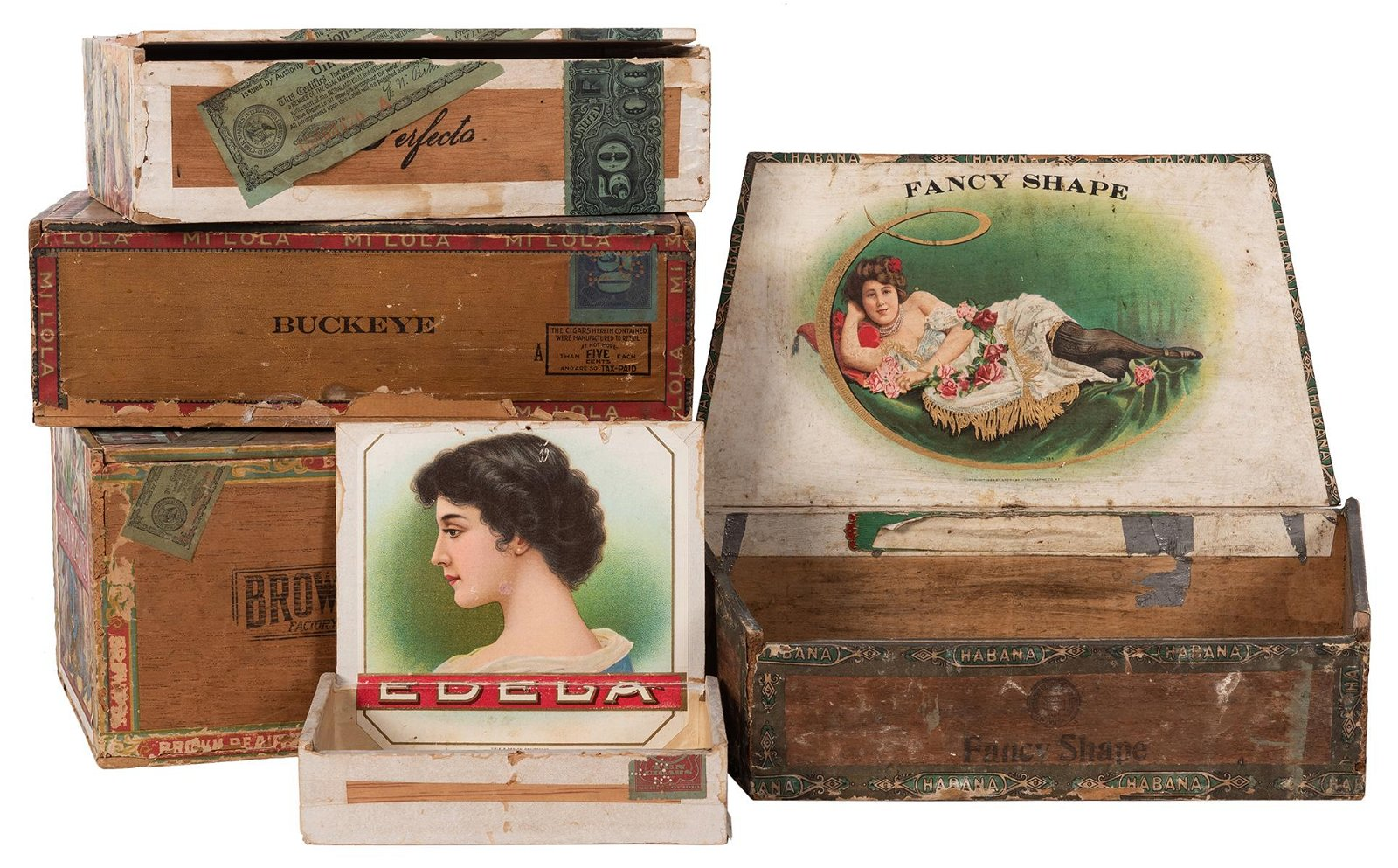 Women Themed Cigar Boxes. 5 pcs. Labels include Brown