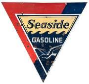 Seaside Gasoline Sign. Double-sided porcelain sign,