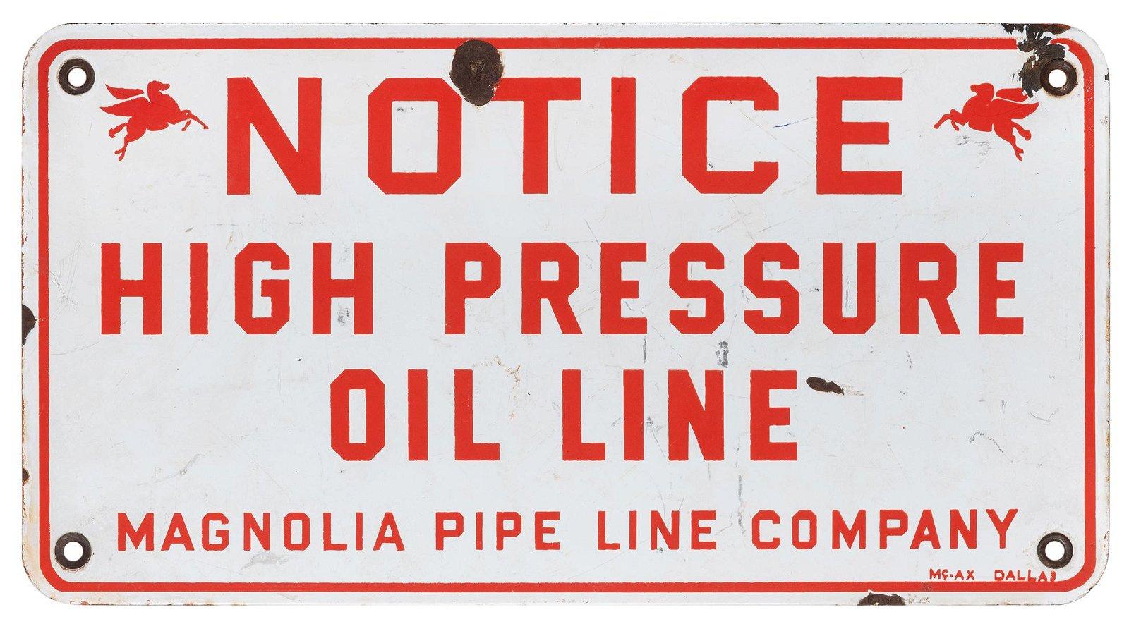 Mobil Magnolia Pipe Line Co. Oil Line Sign.