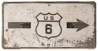 US Route 6 Road Sign Black and white tin sign with