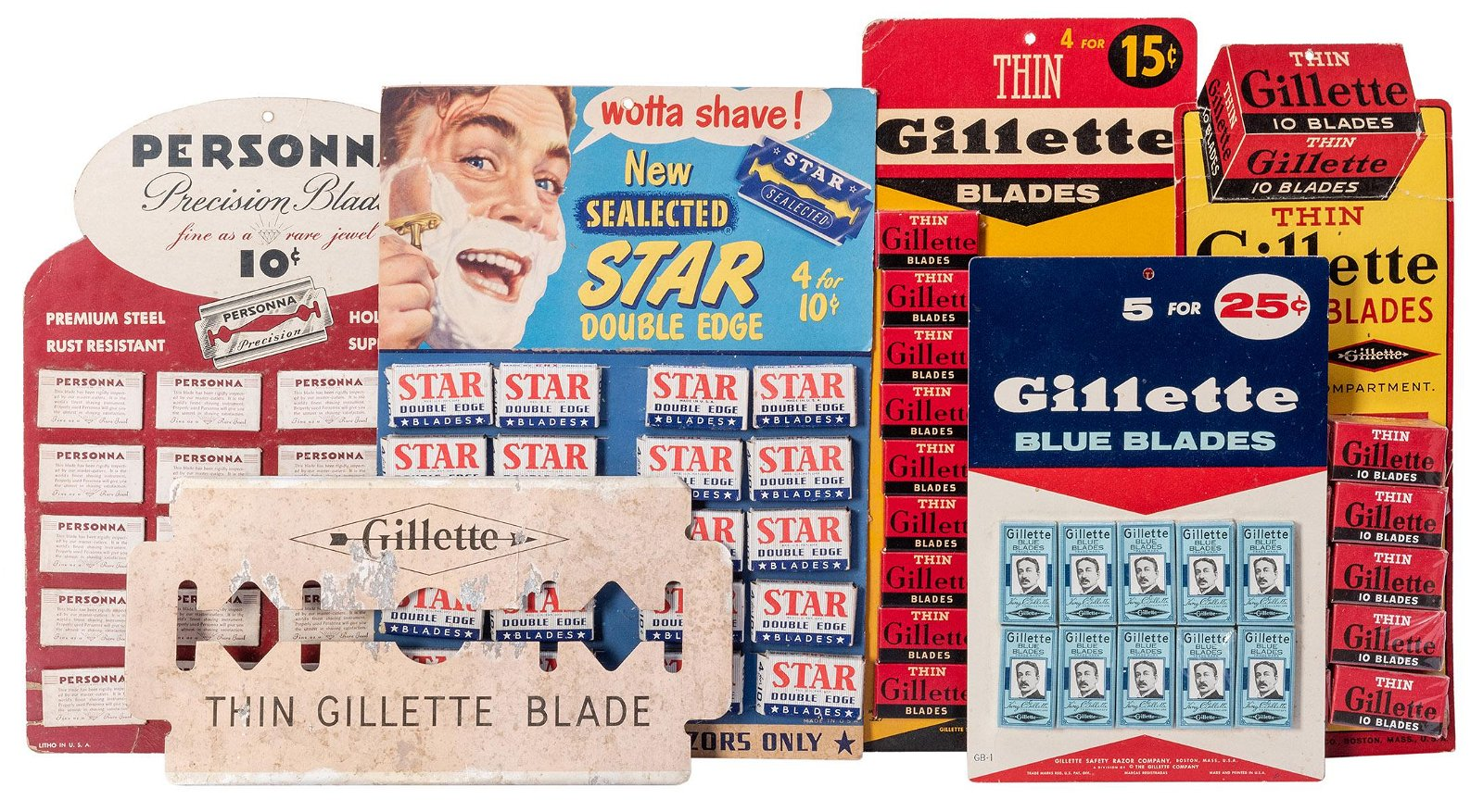 Group of NOS Razor Blades and Gillette Counter Standee.