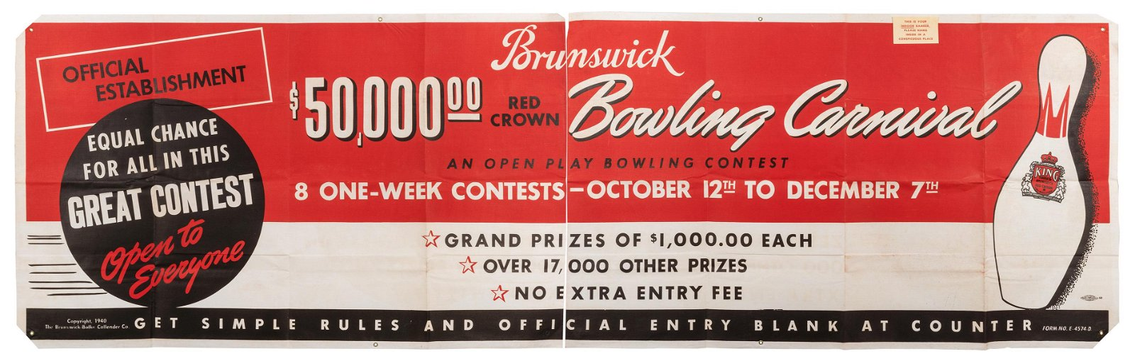 Brunswick Bowling Contest Advertisement Banner. The