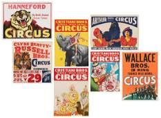 Group of 7 HalfSheet Circus Posters American ca