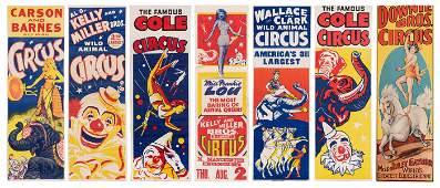 Group of 7 Panel Circus Posters American ca