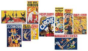 Group of 10 Circus Posters American ca 1950s60s