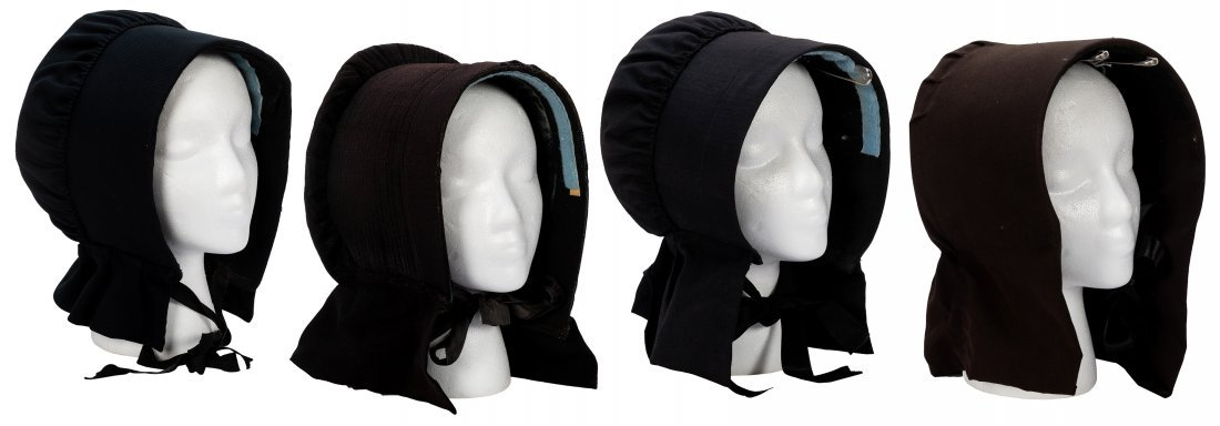 Group of Four Amish Bonnets. Early 20th century.