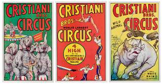 Cristiani Bros. Three Posters. 1958. Designed by