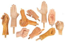 Lot of 10 Wax Museum Hands Lifesize hands in various