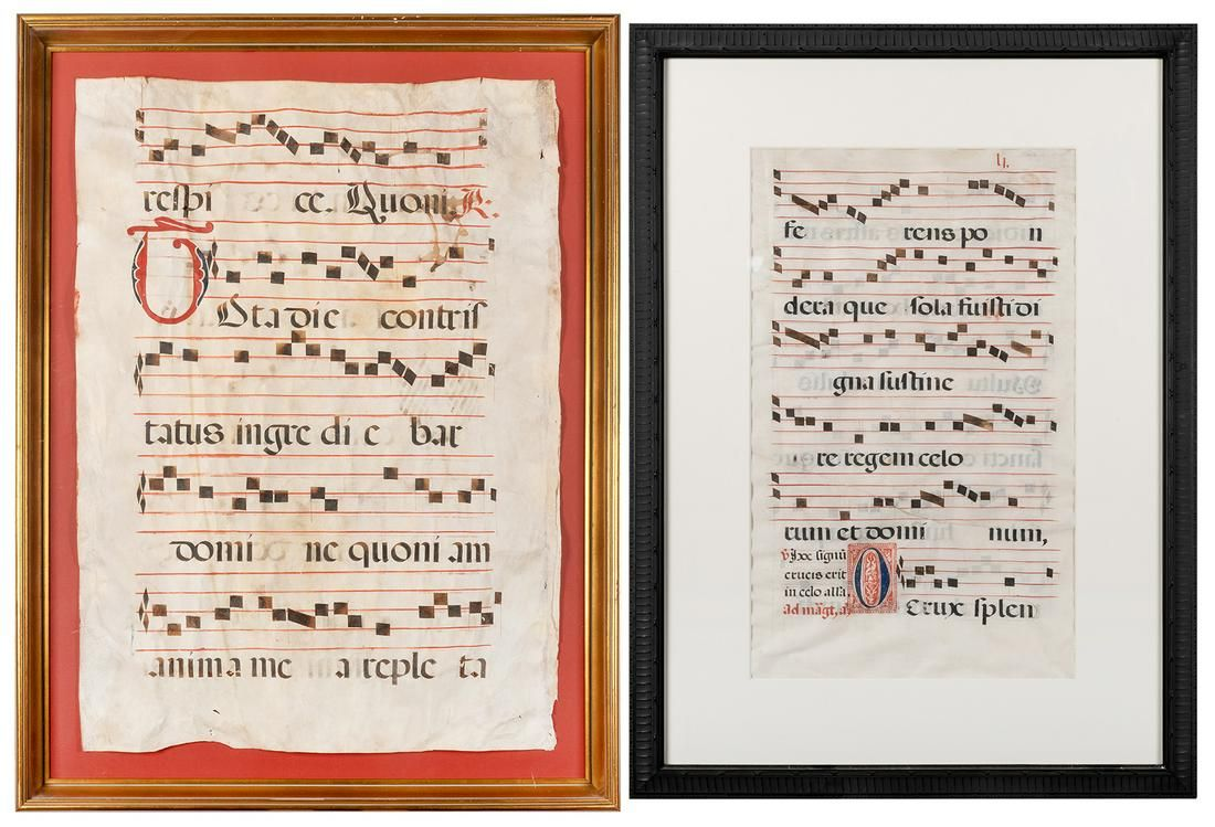 [INCUNABULA] Pair of Illuminated Antiphonal Folio