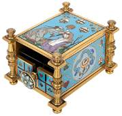 Cloisonne-Decorated Card Press. Heavy brass press of an
