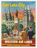 Salt Lake City / Western Air Lines. Circa 1954. An