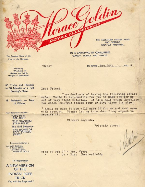 62: Vintage archive of magicians' correspondence.