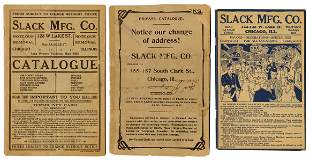 Slack Mfg. Co. Catalogs. Lot of 3. Chicago, ca.