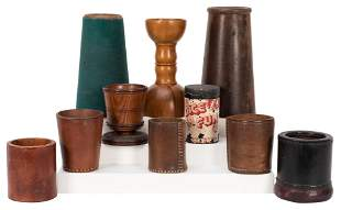 Group of Dice Cups and Hazard Drops. Including a turned