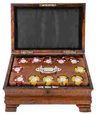 Antique Locking Oak Poker Chip Set. Footed oak poker
