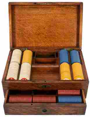 Antique Oak Poker Chip Set. Locking oak chest with