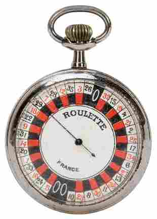 French Roulette Pocket Watch Game with Case and Layout.