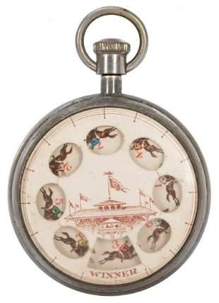 Horse Race Gambling Pocket Watch. Circa 1910s. Push the