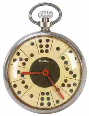 Otto Grun Dice Game Pocket Watch. Circa 1950s. Turn the