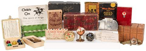 Group of Miscellaneous Gambling Collectibles. Small box