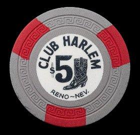 Club Harlem $5 Casino Chip. Reno, NV, ca. 1948-51.