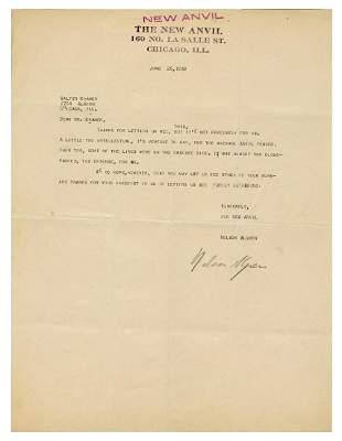 """ALGREN, Nelson (1909–1981). Typed Letter Signed """"Nelson"""
