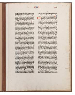 [BIBLIA LATINA]. Fust and Schoffer 48-line Bible Leaf.