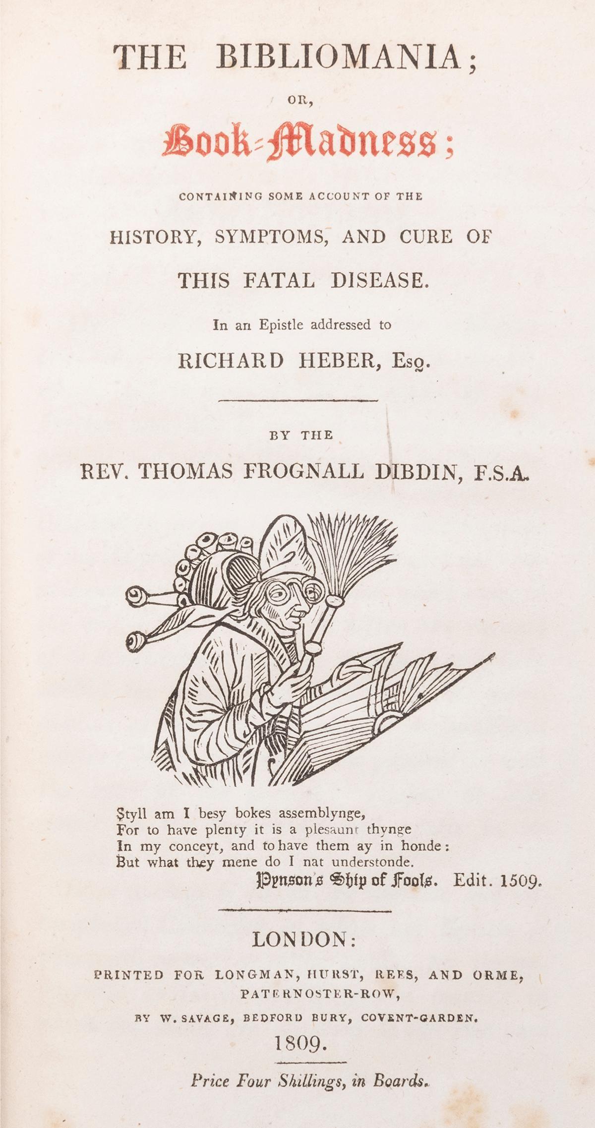 DIBDIN, Thomas Frognall (1776–1847). The Bibliomania;