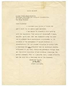 EINSTEIN, Albert (1879–1955). An Important Typed Letter