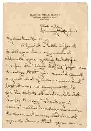 [BAUM, L. Frank, association]. BAUM, Harry Neal