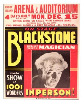 Harry Blackstone Poster. World's Master Magician.