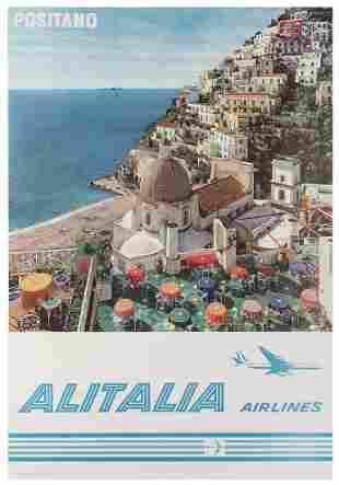 Alitalia Airlines / Positano. 1960s. Photo-offset