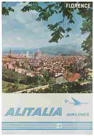 Alitalia Airlines / Florence. 1960s. Photo-offset