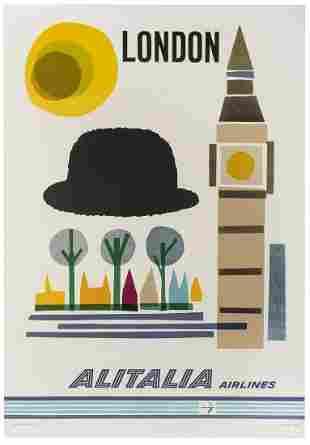 Alitalia Airlines / London. Rome: Eliograf, ca. 1960s.
