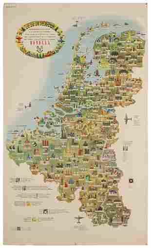 [PICTORIAL MAP] Benelux / Tourist Map of Belgium,