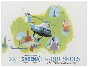 Fly Sabena to Brussels / Heart of Europe. Circa