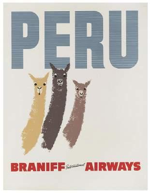 Braniff International Airways / Peru. 1960s. Offset