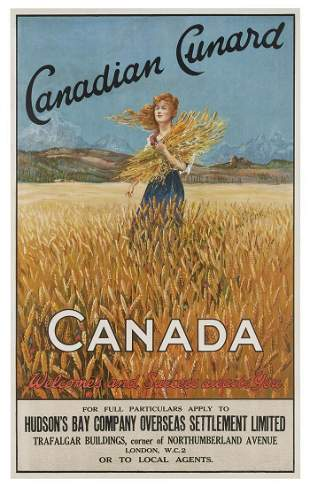 Canadian Cunard / Canada. 1920s. Poster advertising