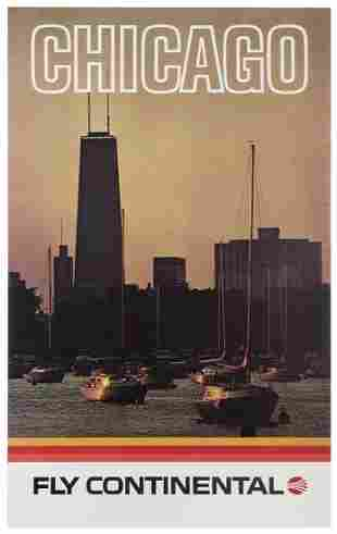 Fly Continental / Chicago. 1970s. Airline poster with a
