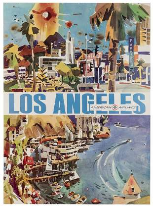 American Airlines / Los Angeles. 1960s. Lithograph
