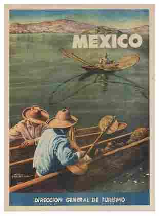 PRUNEDA, Salvador. Mexico. 1948. Tourism poster showing