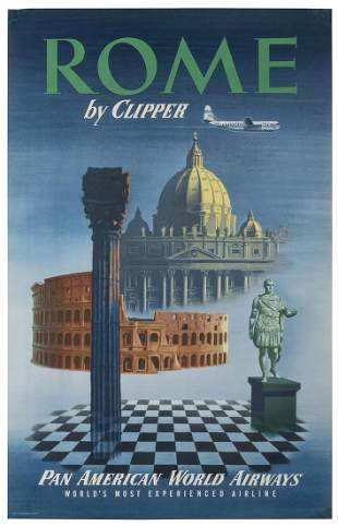 Pan American World Airways / Rome. 1951. Airline poster