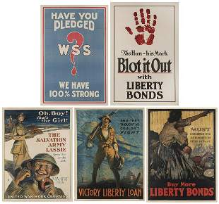 Five WWI One–Sheet Propaganda Posters. Including