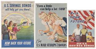 Trio of WWII War / Savings Bonds Posters. Including: